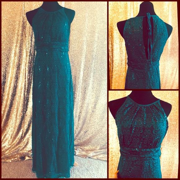 R M Richards Dresses Lace Sequins Dark Teal Prom Dress Poshmark